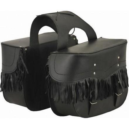 Alforjas de cuero con flecos Goyamoto 24 litros GM-270 color negro