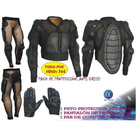 Pack peto protector integral Goyamoto formado por chaquetón, pantalón y guantes