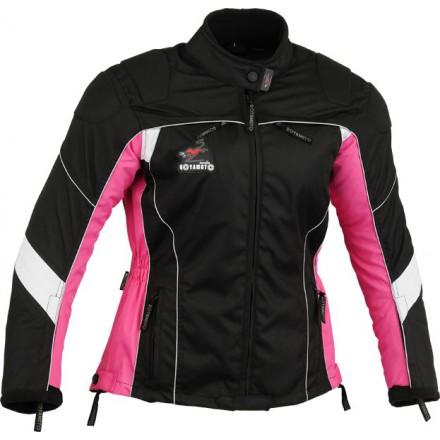 Chaqueta cordura mujer Goyamoto GM-105 color negro-rosa