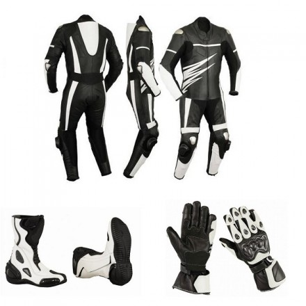 Pack moto racing Goyamoto Negro-Blanco GM-685