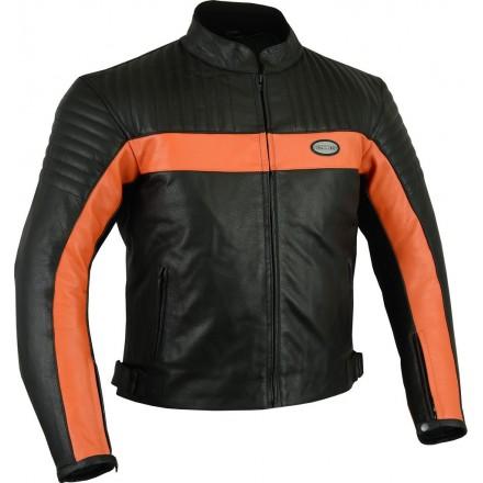 Chaqueta de cuero Goyamoto GM-175 color negro-naranja