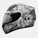 Casco integral MT Revenge Skull & Rose Matt Silver-Anthracite-Black