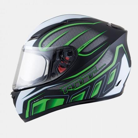 Casco integral MT Blade SV Alpha Matt Black/Fluor Green/White