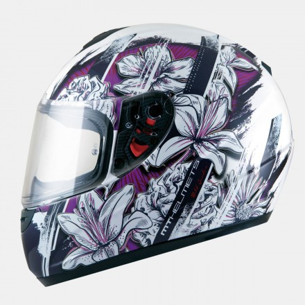 Casco integral MT Kids Thunder Wild Garden Gloss Pearl  White Purple
