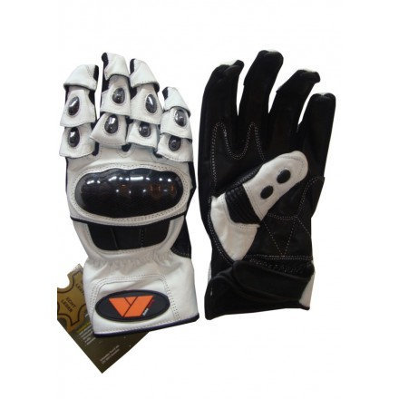 Guantes cortos de verano racing REKO color blanco DB-123