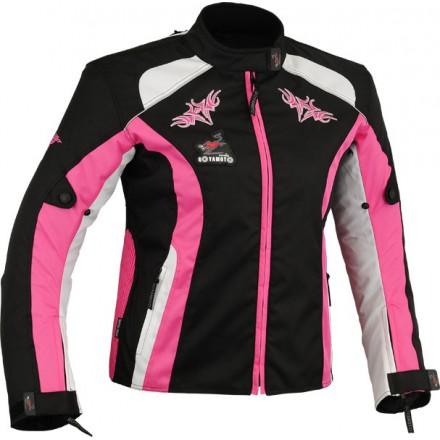 Chaqueta cordura mujer Goyamoto GM-121 color negro-rosa