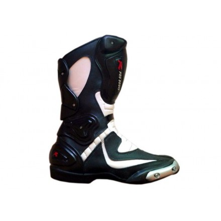 Bota Piel racing MC-390 color negro-blanco