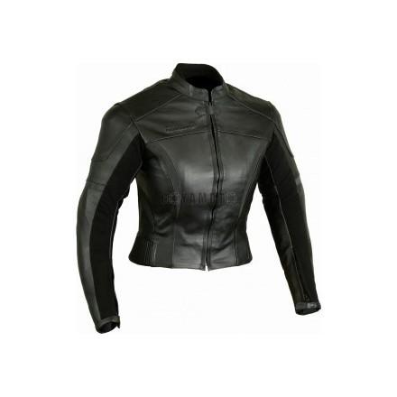 Chaqueta de cuero negra para mujer
