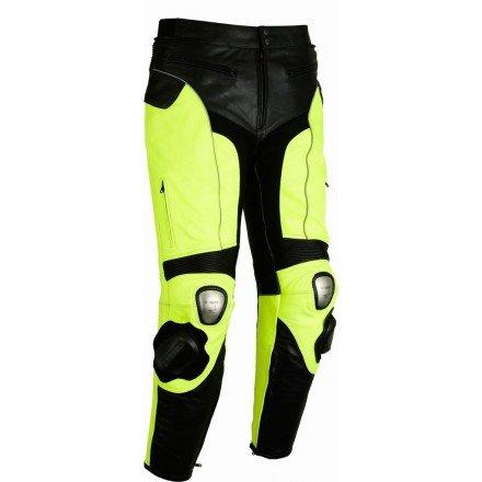 Pantalón de cuero Goyamoto GM-154 amarillo fluor