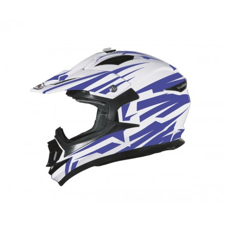 Casco Shiro cross MX-734 Bravo Blanco y Azul
