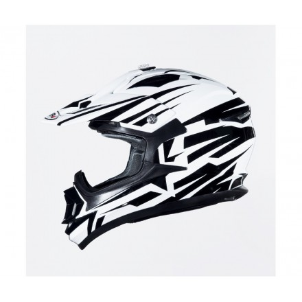 Casco Shiro cross MX-734 Bravo Blanco y Negro