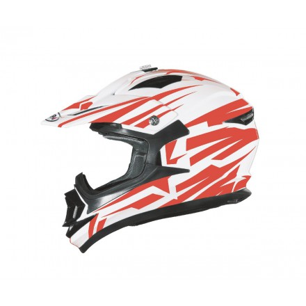 Casco Shiro cross MX-734 Bravo Blanco y Rojo
