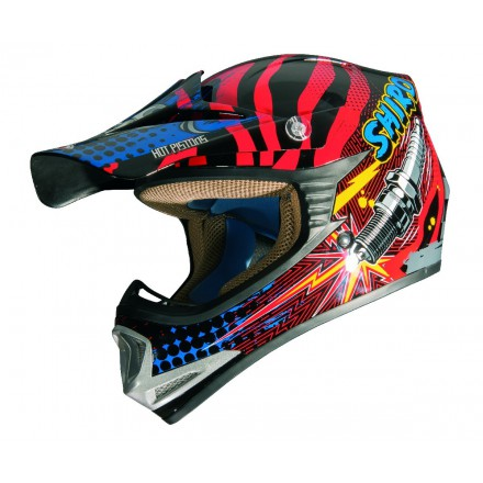 Casco Shiro cross MX-M306 Rockid Kids rojo