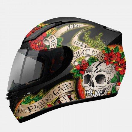 Casco integral MT Revenge Skull & Rose Gloss Black-Red