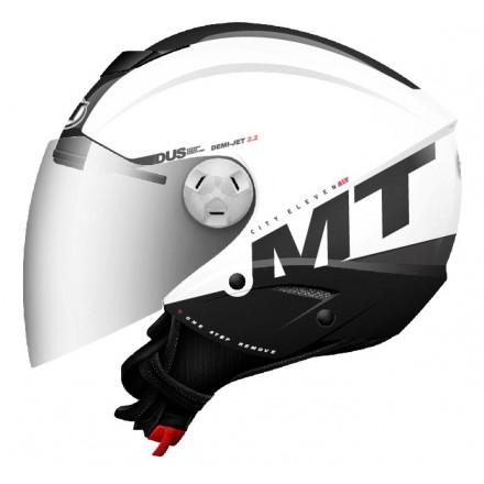 Casco jet MT City Eleven SV Smart Gloss Pearl White-Black