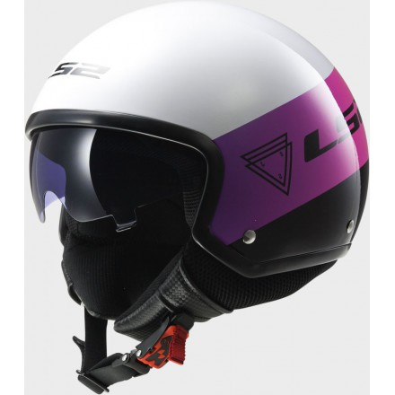 Casco jet LS2 OF561.21 Wave Beat Fluo Pink