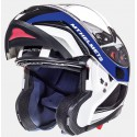Casco modular MT Atom SV Tarmac Gloss Pearl White Black Blue
