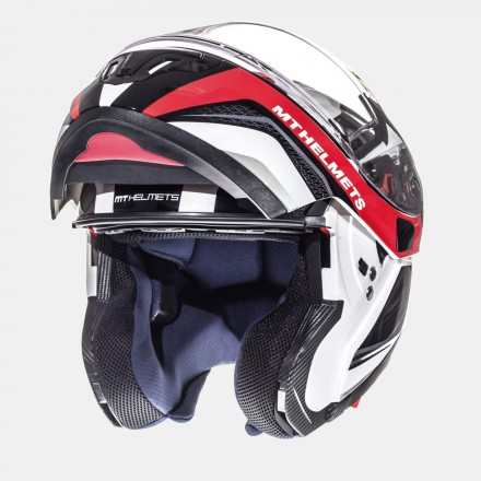 Casco modular MT Atom SV Tarmac Gloss Pearl White Black Red