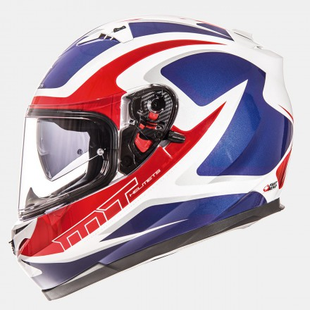 Casco integral MT Blade SV Morph Gloss Pearl White Red Blue