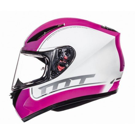 Casco integral MT Revenge Binomy Gloss Pearl White-Neon Pink