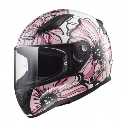 Casco integral LS2 FF353.20 Rapid Poppies White Pink