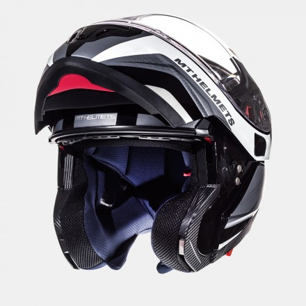 Casco modular MT Atom SV Tarmac Gloss Black Matt White