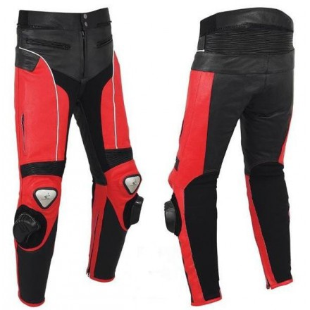 Pantalón de cuero Goyamoto GM-154 rojo