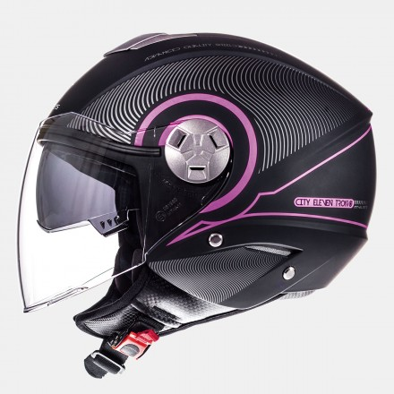 Casco jet MT City Eleven SV Tron Matt Black Fuchsia