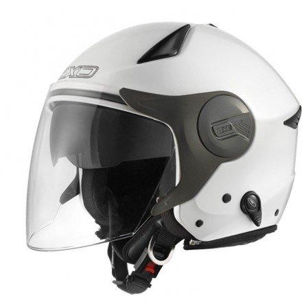 Casco moto jet AXO Polis Visor Solar blanco