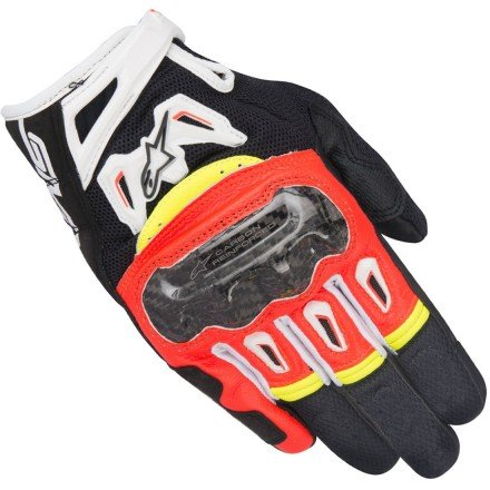 Guantes Alpinestars SMX-2 Air Carbon V2 Black Red Fluo White Yellow Fluo