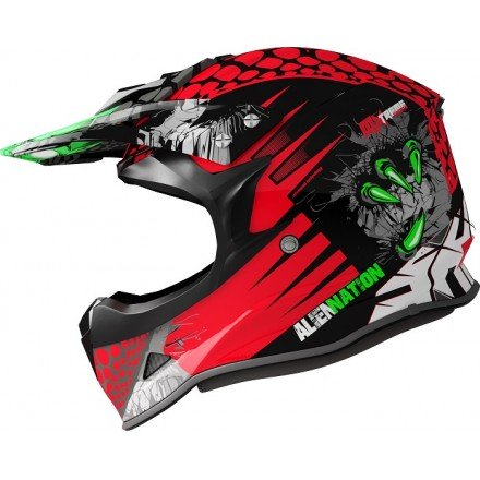 Casco Shiro cross MX-307 Alien Nation rojo