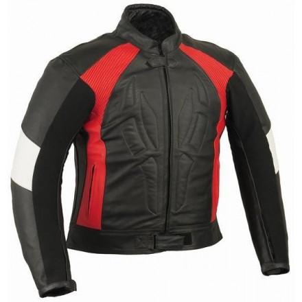 Chaqueta de cuero Goyamoto GM-166 color rojo-blanco-negro
